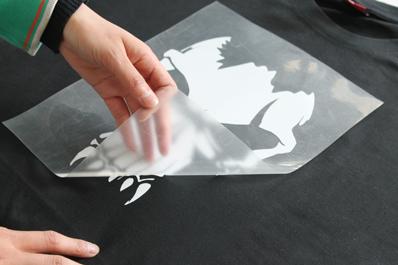 Declarative image intended for laser printable heat transfer vinyl
