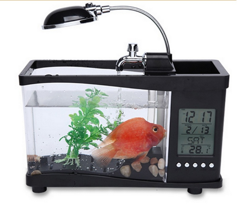 Special price usb desktop mini fish tank aquarium lcd for Desktop fish tank