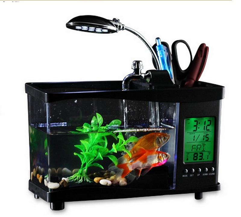 Desktop mini fish tank usb aquarium led light calendar for Usb fish tank