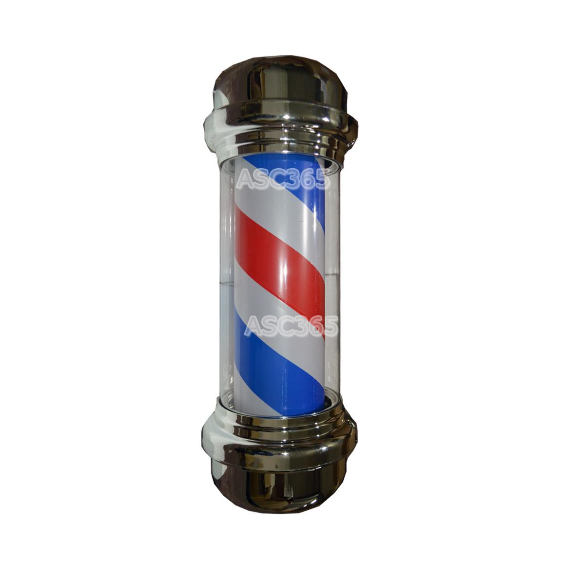 Barber Pole LED Light Red White Blue Stripes Rotating
