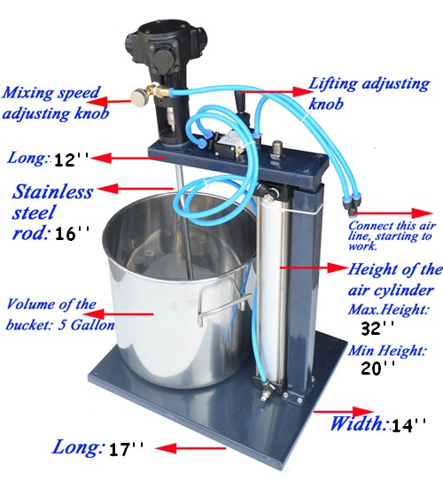 Gallon pneumatic mixer with stand and shafts