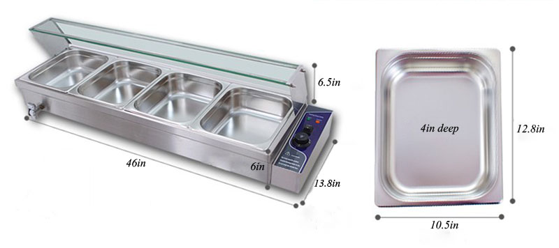 Half Size Warmer ~ V pan bain marie steam table food warmer stainless