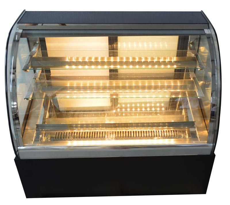 220v Glass Refrigerated Cake Countertop Showcase Display