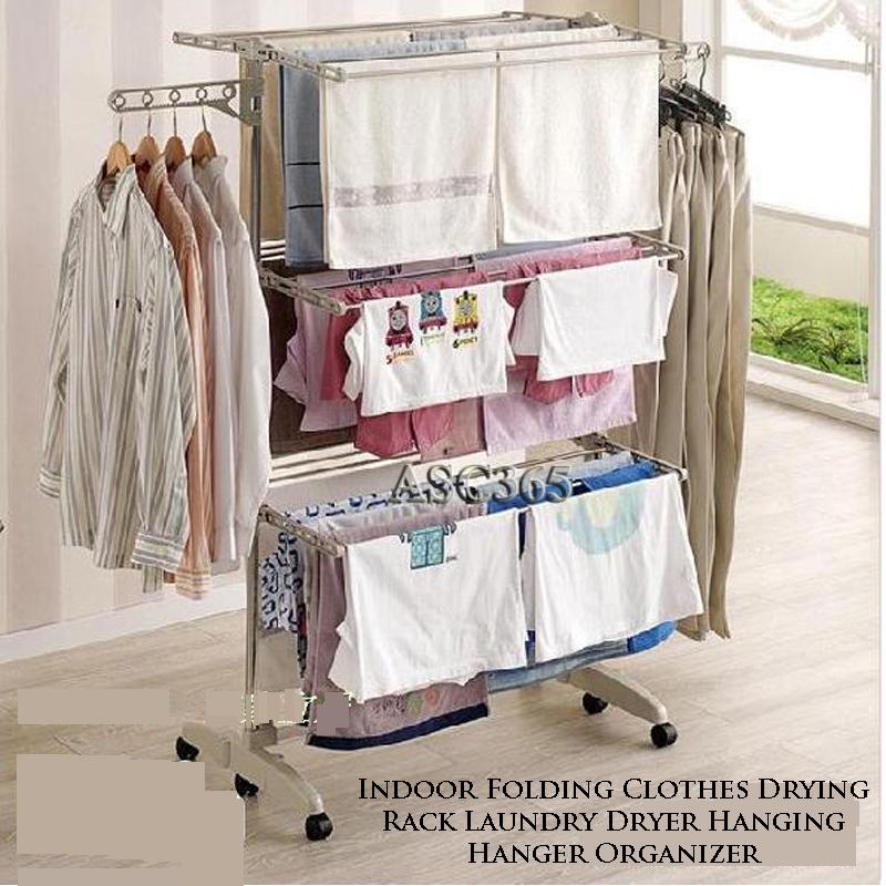 3 tier folding clothes drying rack laundry dryer hanging hanger organizer new ebay. Black Bedroom Furniture Sets. Home Design Ideas