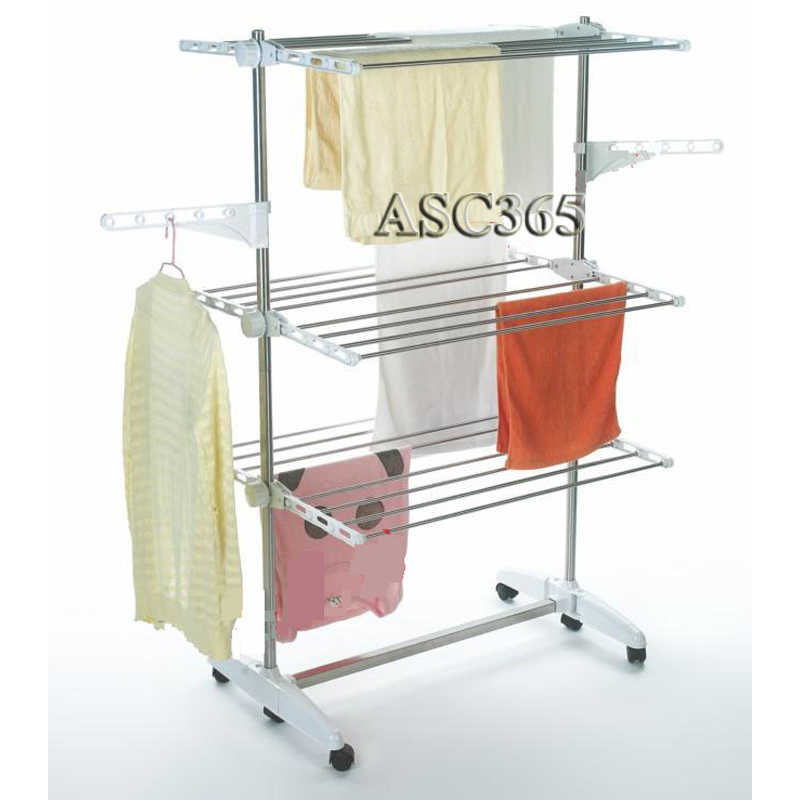 indoor 3 tier folding clothes drying rack laundry dryer hanging hanger organizer ebay. Black Bedroom Furniture Sets. Home Design Ideas