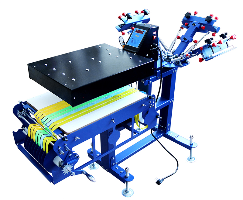 INTBUYING Micro-Registration 4 Color 1 Station Screen Printing Machine T-Shirt Printing Press with Stand