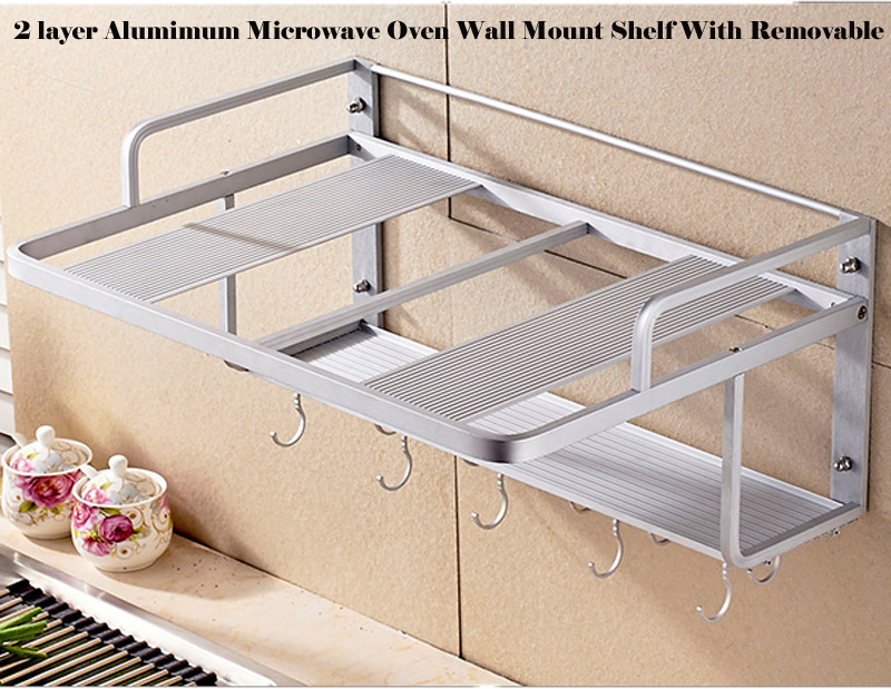 2 Layer Aluminum Microwave Wall Shelf