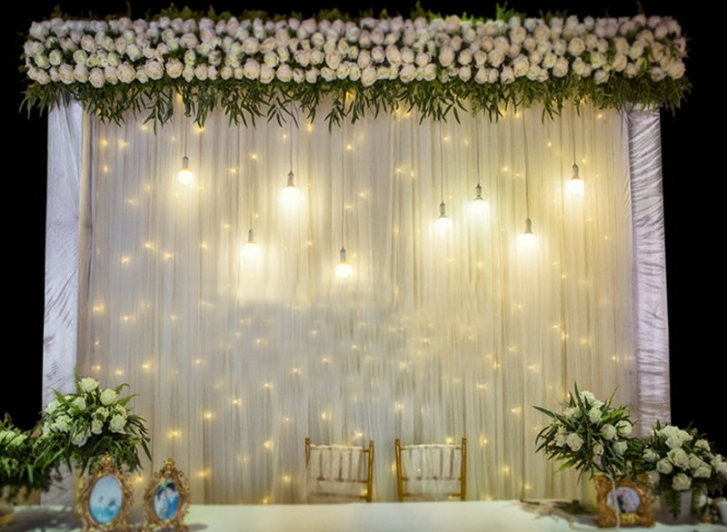 TECHTONGDA Creamy-White Wedding Background Curtain Wedding Stage ...