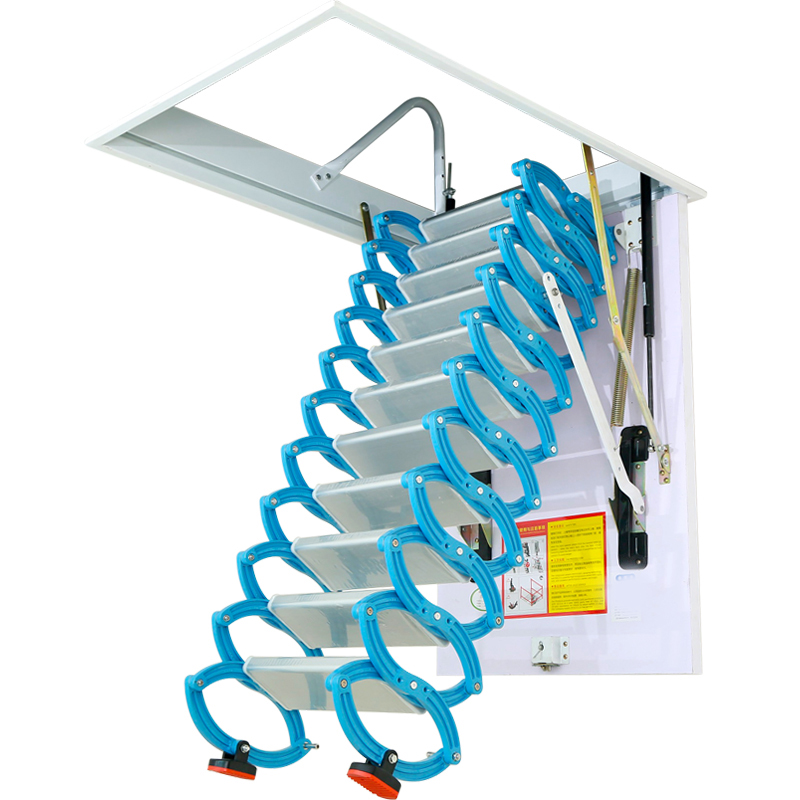Folding Loft Ladder Stairs Sliding Roof Ladder Attic With Handrail Door New Ebay