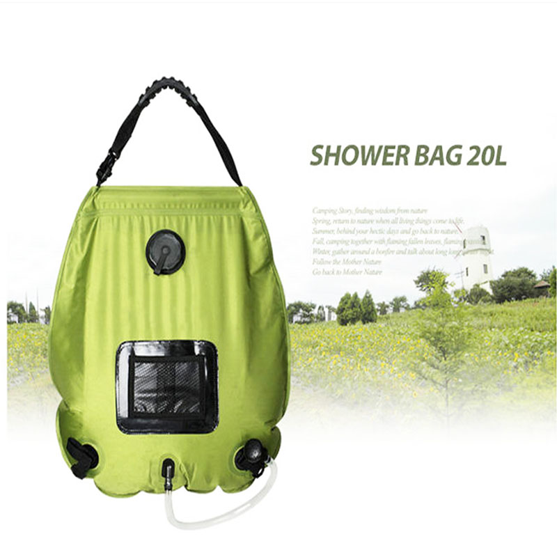 20L Car Portable PVC Outdoor Camping Solar Energy Heated Shower Pipe Bag Durable