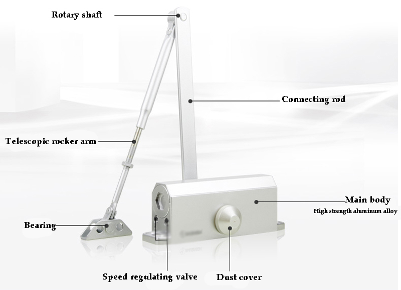 Professional Commercial Door Closer 35-45 kg Silver Aluminium Alloy