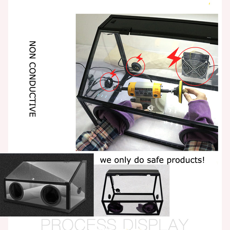 Holes Enclosed Grinding Table Polisher Acrylic Dust Box Cover INTBUYING 220V Electric Two 5mm LED Light with Fan Item Number#300136